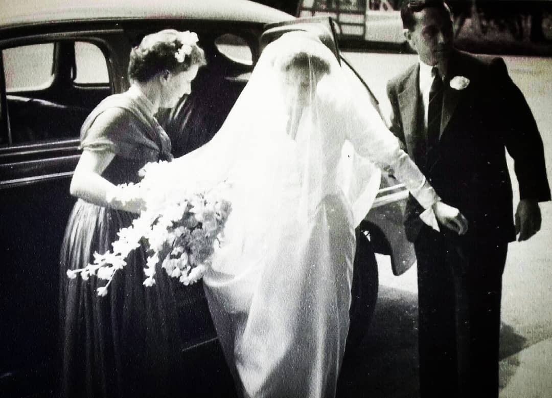 mother in her wedding dress