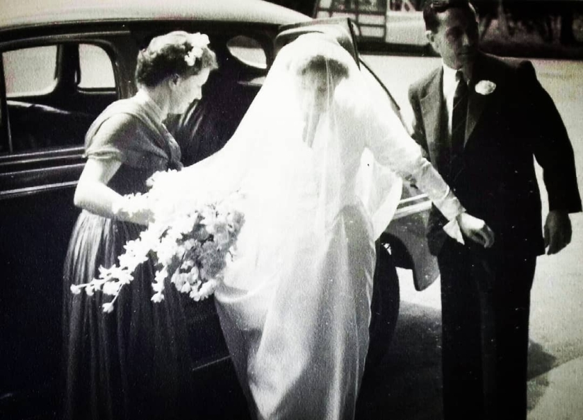 mother in her wedding dress